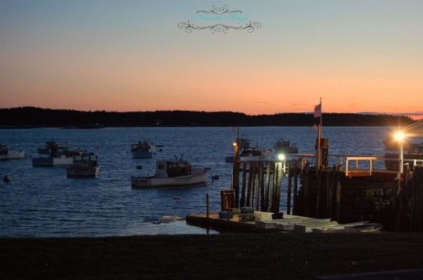 Maine Coast sunset, ocean lobster boats
