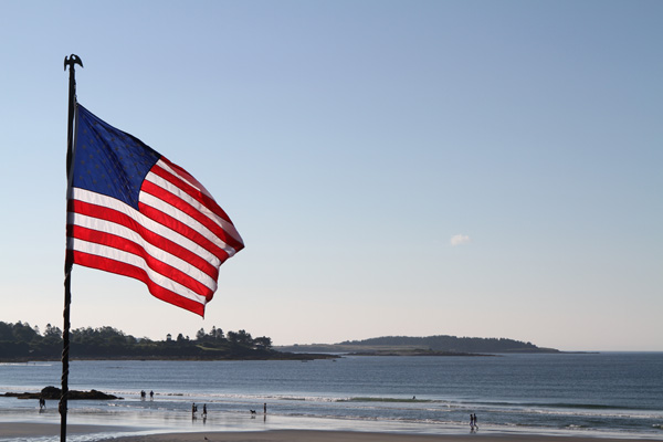 Maine coast, fourth of july, 4th of July, American flag, flag, Higgins Beach, sunrise, Nanette Faye Photography, Maine photographer