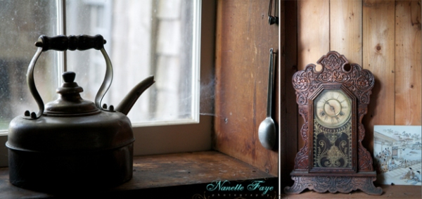 clock, teapot, kettle, antiques, Maine antiques, farm, farmhouse, Northern Maine, Maine photographer, Nanette Faye Photography