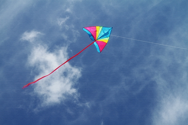 kite, flying kite, blue sky, colors, Maine coast, Nanette Faye PHotography, kite on canvas 650 for blog